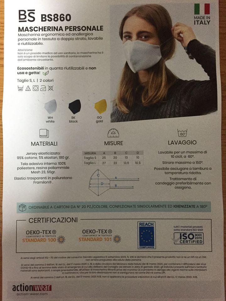 colori e misure disponibili mascherina in jersey lavabile e riutilizzabile